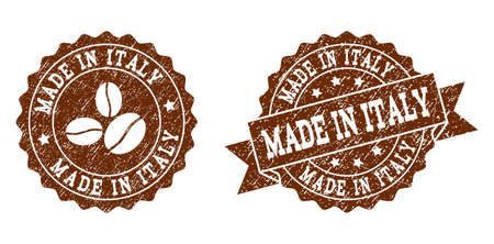 Made in Italy rubber stamps. Vector seals in chocolate color with round, ribbon, rosette, coffee bean elements. Grainy design and scratched texture are used for Made in Italy rubber imprints.