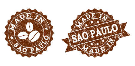 Made In Sao Paulo rubber stamps. Vector seals in chocolate color with round, ribbon, rosette, coffee bean elements. Grainy design and retro texture are used for Made In Sao Paulo rubber imprints. Illustration