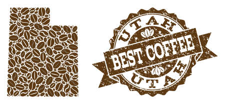 Compositions of coffee map of Utah State and grunge stamp seal. Mosaic vector map of Utah State is created with coffee beans. Flat design elements for coffeeshop illustrations. Stamp contains rosette,  イラスト・ベクター素材