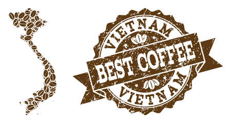 Compositions of coffee map of Vietnam and grunge stamp seal. Mosaic vector map of Vietnam is created with coffee beans. Abstract design elements for coffeeshop projects. Stamp contains rosette,