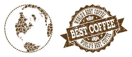 Zusammensetzungen der globalen Weltkarte des Kaffees und des Schmutzstempelsiegels. Die globale Mosaikvektorkarte der Welt wird mit Kaffeebohnen gebildet. Abstrakte Gestaltungselemente für Cafétapeten. Stempel enthält Rosette,