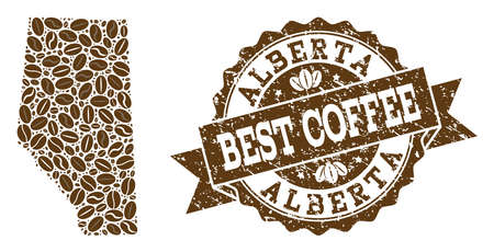Compositions of coffee map of Alberta Province and grunge stamp seal. Mosaic vector map of Alberta Province is designed with coffee beans. Abstract design elements for coffeeshop posters.
