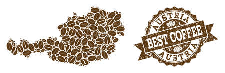 Compositions of coffee map of Austria and grunge stamp seal. Mosaic vector map of Austria is composed with coffee beans. Flat design elements for cafe wallpapers. Stamp contains rosette, ribbon,