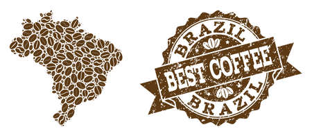 Compositions of coffee map of Brazil and grunge stamp seal. Mosaic vector map of Brazil is designed with coffee beans. Abstract design elements for cafe advertisement. Stamp contains rosette, ribbon,