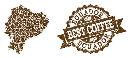 Compositions of coffee map of Ecuador and grunge stamp seal. Mosaic vector map of Ecuador is composed with coffee beans. Abstract design elements for cafeteria wallpapers. Stamp contains rosette,