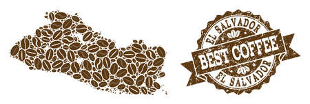 Compositions of coffee map of El Salvador and grunge stamp seal. Mosaic vector map of El Salvador is formed with coffee beans. Abstract design elements for cafe advertisement. Stamp contains rosette,