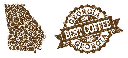 Compositions of coffee map of Georgia State and grunge stamp seal. Mosaic vector map of Georgia State is designed with coffee beans. Abstract design elements for coffeeshop wallpapers.