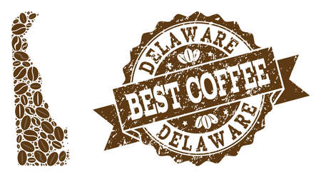 Compositions of coffee map of Delaware State and grunge stamp seal. Mosaic vector map of Delaware State is designed with coffee beans. Abstract design elements for coffeeshop wallpapers. Illusztráció