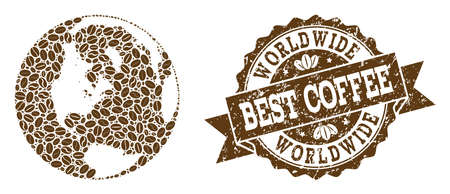 Compositions of coffee map of global world and grunge stamp seal. Mosaic vector map of global world is composed with coffee beans. Abstract design elements for cafe applications. Illustration