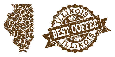 Compositions of coffee map of Illinois State and grunge stamp seal. Mosaic vector map of Illinois State is composed with coffee beans. Abstract design elements for cafeteria projects.  イラスト・ベクター素材