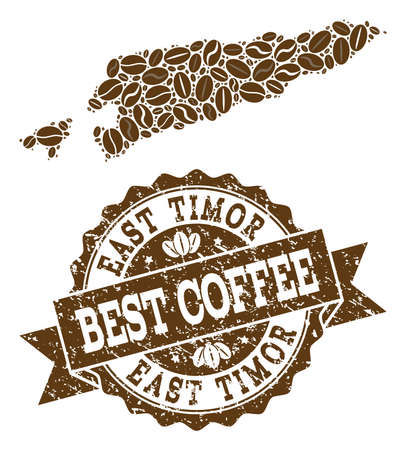 Compositions of coffee map of East Timor and grunge stamp seal. Mosaic vector map of East Timor is formed with coffee beans. Abstract design elements for coffeeshop purposes. Stamp contains rosette,