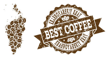 Compositions of coffee map of Krasnoyarskiy Kray and grunge stamp seal. Mosaic vector map of Krasnoyarskiy Kray is composed with coffee beans. Abstract design elements for coffeeshop projects.