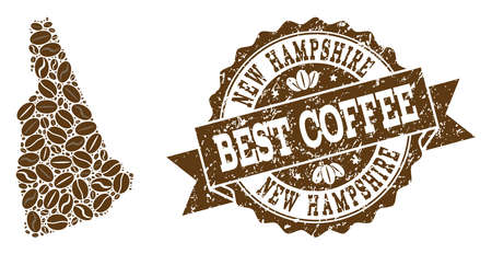 Compositions of coffee map of New Hampshire State and grunge stamp seal. Mosaic vector map of New Hampshire State is composed with coffee beans. Flat design elements for cafeteria applications.  イラスト・ベクター素材