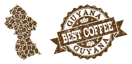 Compositions of coffee map of Guyana and grunge stamp seal. Mosaic vector map of Guyana is composed with coffee beans. Abstract design elements for coffeeshop purposes. Stamp contains rosette, ribbon,