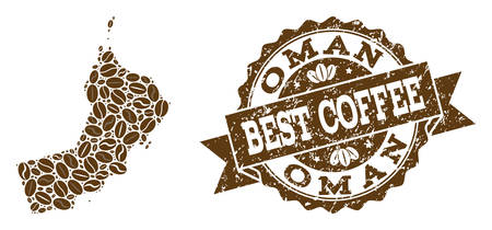 Compositions of coffee map of Oman and grunge stamp seal. Mosaic vector map of Oman is designed with coffee beans. Flat design elements for cafe purposes. Stamp contains rosette, ribbon, circle,