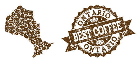 Compositions of coffee map of Ontario Province and grunge stamp seal. Mosaic vector map of Ontario Province is formed with coffee beans. Flat design elements for cafeteria posters.