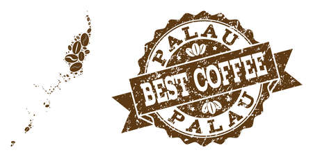 Compositions of coffee map of Palau Islands and grunge stamp seal. Mosaic vector map of Palau Islands is designed with coffee beans. Flat design elements for cafe illustrations.