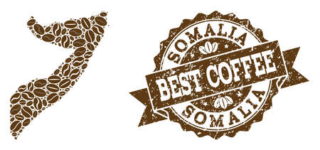 Compositions of coffee map of Somalia and grunge stamp seal. Mosaic vector map of Somalia is composed with coffee beans. Flat design elements for coffeeshop posters. Stamp contains rosette, ribbon,