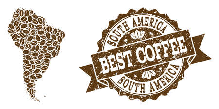 Compositions of coffee map of South America and grunge stamp seal. Mosaic vector map of South America is created with coffee beans. Abstract design elements for coffeeshop wallpapers.