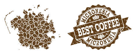Compositions of coffee map of Micronesia island and grunge stamp seal. Mosaic vector map of Micronesia island is formed with coffee beans. Flat design elements for cafe illustrations. Illustration