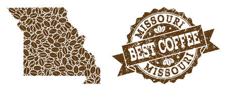 Compositions of coffee map of Missouri State and grunge stamp seal. Mosaic vector map of Missouri State is created with coffee beans. Abstract design elements for coffeeshop advertisement. Ilustração