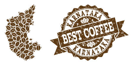 Compositions of coffee map of Karnataka State and grunge stamp seal. Mosaic vector map of Karnataka State is created with coffee beans. Flat design elements for coffeeshop purposes.