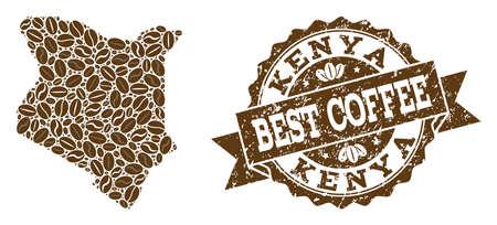 Composiciones de mapa de café de Kenia y sello de sello de grunge. El mapa del vector mosaico de Kenia se crea con granos de café. Elementos de diseño plano para fines de cafetería. El sello contiene roseta, cinta, círculo, Ilustración de vector