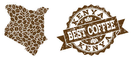 Compositions of coffee map of Kenya and grunge stamp seal. Mosaic vector map of Kenya is created with coffee beans. Flat design elements for cafe purposes. Stamp contains rosette, ribbon, circle, Vettoriali