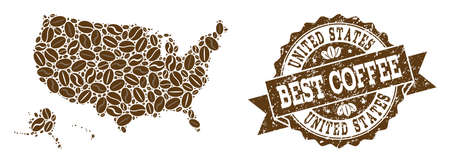 Compositions of coffee map of USA territories and grunge stamp seal. Mosaic vector map of USA territories is composed with coffee beans. Abstract design elements for coffeeshop posters. Иллюстрация