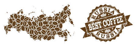 Compositions of coffee map of Russia and grunge stamp seal. Mosaic vector map of Russia is created with coffee beans. Flat design elements for coffeeshop projects. Stamp contains rosette, ribbon,