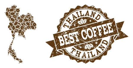 Compositions of coffee map of Thailand and grunge stamp seal. Mosaic vector map of Thailand is composed with coffee beans. Abstract design elements for cafe projects. Stamp contains rosette, ribbon,