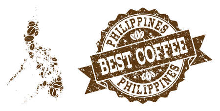 Compositions of coffee map of Philippines and grunge stamp seal. Mosaic vector map of Philippines is created with coffee beans. Abstract design elements for cafe posters. Stamp contains rosette,