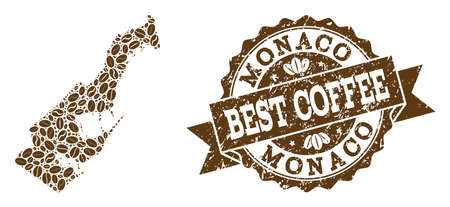 Compositions of coffee map of Monaco and grunge stamp seal. Mosaic vector map of Monaco is formed with coffee beans. Abstract design elements for cafeteria advertisement. Stamp contains rosette, Stock Photo
