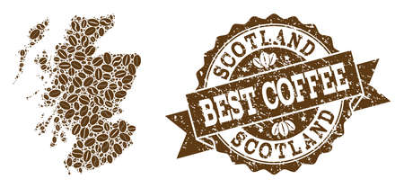 Compositions of coffee map of Scotland and grunge stamp seal. Mosaic vector map of Scotland is composed with coffee beans. Abstract design elements for cafe projects. Stamp contains rosette, ribbon,