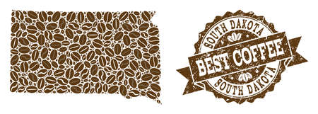 Compositions of coffee map of South Dakota State and grunge stamp seal. Mosaic vector map of South Dakota State is created with coffee beans. Flat design elements for cafe wallpapers.