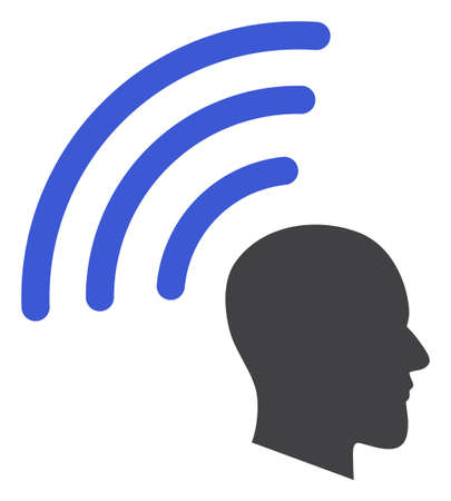 Telepathy waves icon on a white background. Isolated telepathy waves symbol with flat style.