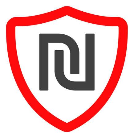 Shekel shield icon on a white background. Isolated shekel shield symbol with flat style.
