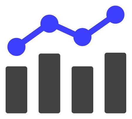Trend chart icon on a white background. Isolated trend chart symbol with flat style.