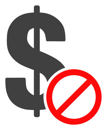 Forbidden dollar icon on a white background. Isolated forbidden dollar symbol with flat style.