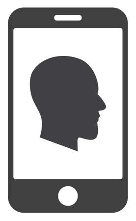 Cellphone profile icon on a white background. Isolated cellphone profile symbol with flat style.