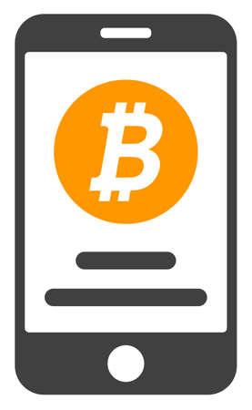 Mobile bitcoin account icon on a white background. Isolated mobile bitcoin account symbol with flat style. Vektoros illusztráció