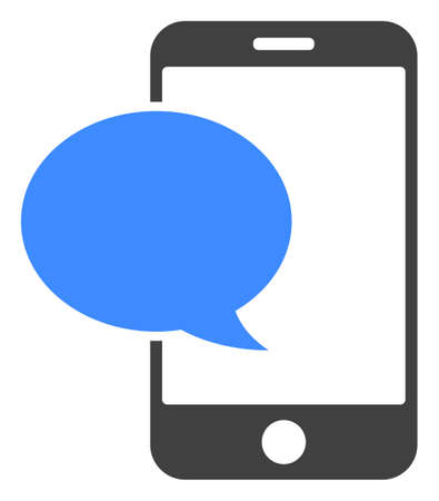 Smartphone message icon on a white background. Isolated smartphone message symbol with flat style.