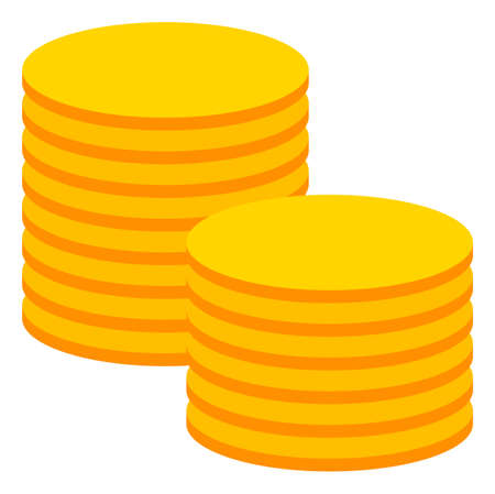 Gold coin stacks icon on a white background. Isolated gold coin stacks symbol with flat style. Ilustração