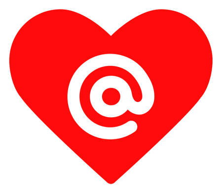 Dating heart address icon on a white background. Isolated dating heart address symbol with flat style.