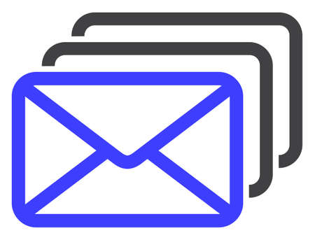 Mail queue icon on a white background. Isolated mail queue symbol with flat style.