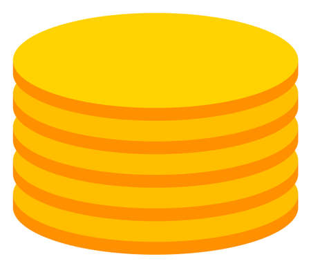 Coin stack icon on a white background. Isolated coin stack symbol with flat style.