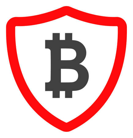 Bitcoin shield icon on a white background. Isolated bitcoin shield symbol with flat style. Reklamní fotografie - 128561643
