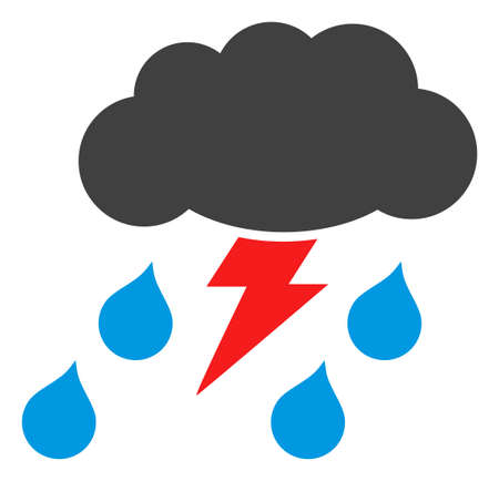 Thunderstorm icon on a white background. Isolated thunderstorm symbol with flat style.
