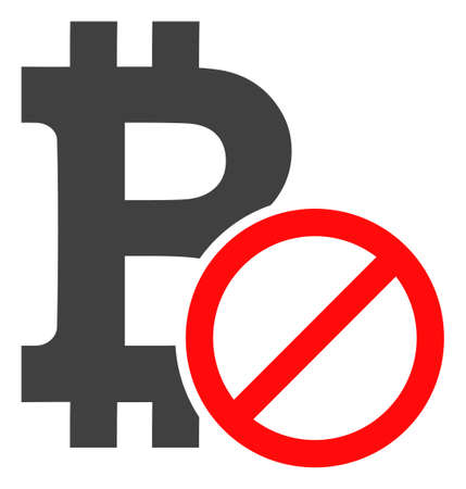 Forbidden bitcoin icon on a white background. Isolated forbidden bitcoin symbol with flat style. Illustration