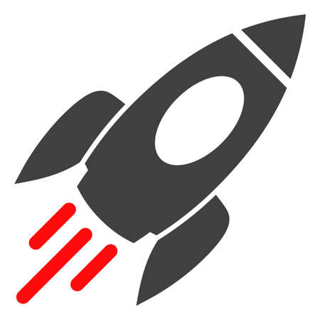 Space rocket icon on a white background. Isolated space rocket symbol with flat style. Ilustração